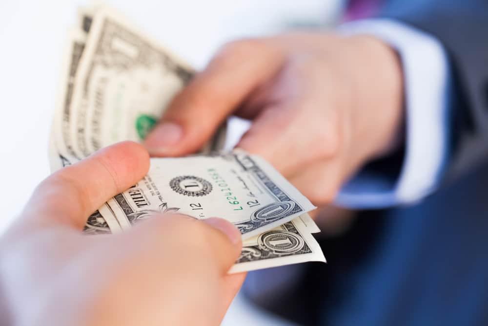 man cashing a money order