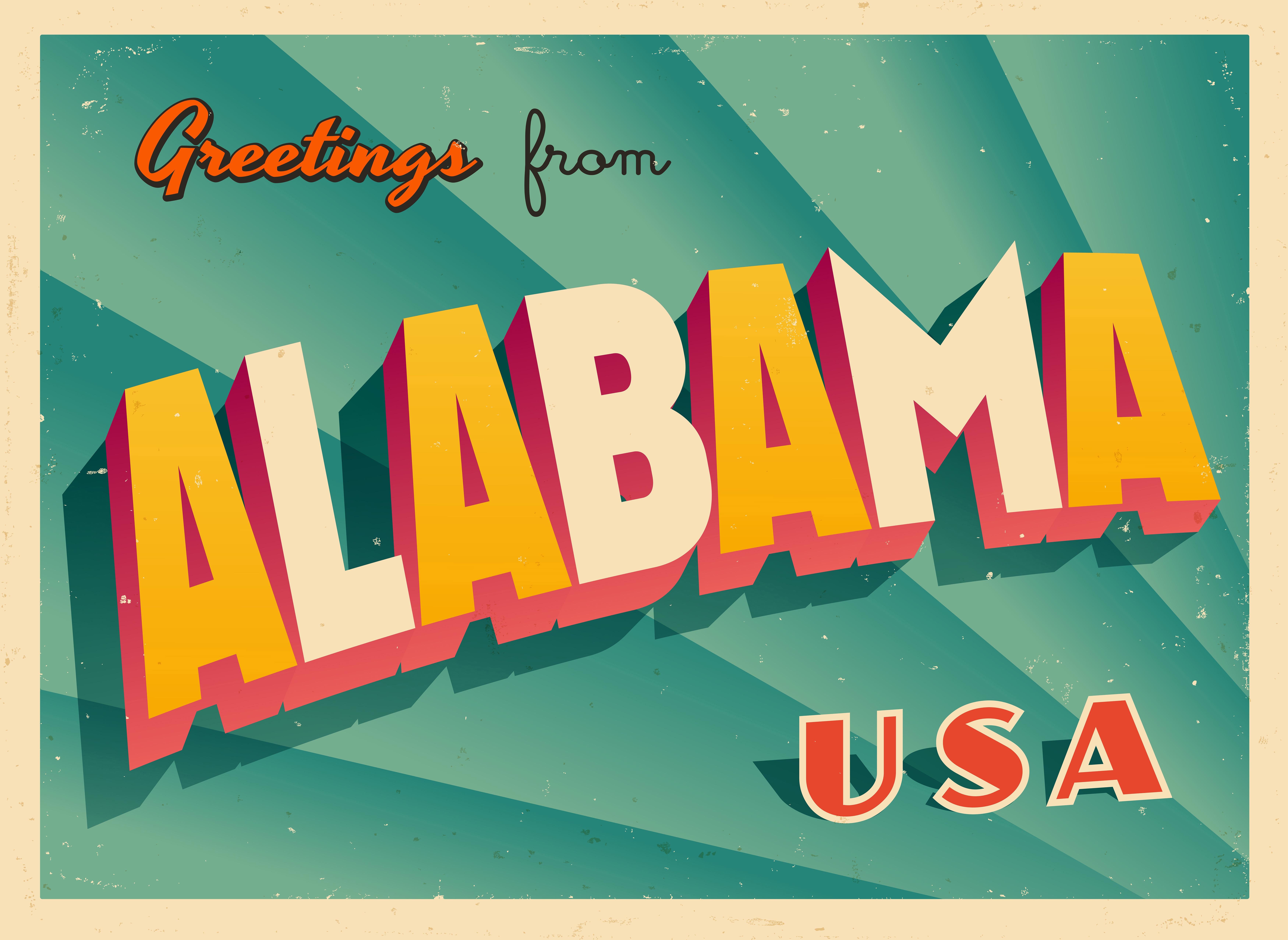retro greeting from alabama postcard